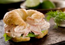Seafood Salad Croissant Royalty Free Stock Photo
