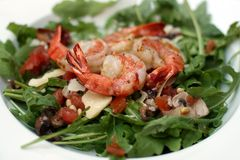 Seafood.Salad de camarones imagen de archivo libre de regalías