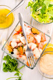 Seafood salad in glass bowl Stock Photography