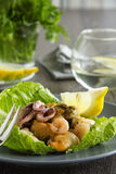 Seafood salad and lemon Stock Photos