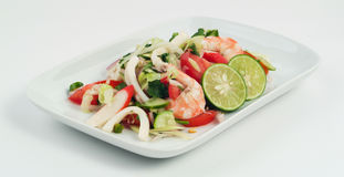 Seafood salad with lime, chili and vegetable Royalty Free Stock Images