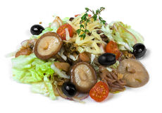 Seafood salad and mushrooms Stock Photos