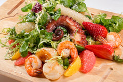 Seafood salad with octopus and shrimps Royalty Free Stock Images
