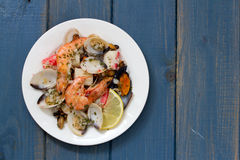 Seafood salad on plate Royalty Free Stock Photography