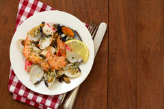 Seafood salad on plate Royalty Free Stock Images