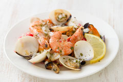 Seafood salad on plate on white Royalty Free Stock Photography