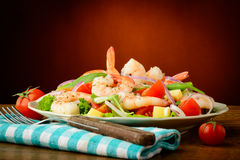 Seafood salad with prawns Royalty Free Stock Photo