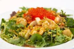 Seafood salad with salmon caviar Stock Images