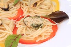 Seafood salad with spaghetti. Stock Image