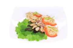 Seafood salad with spaghetti. Stock Image