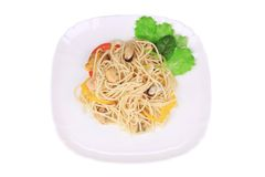 Seafood salad with spaghetti. Royalty Free Stock Image