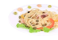 Seafood salad with spaghetti. Stock Photography