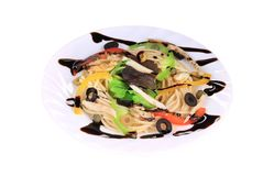 Seafood salad with spaghetti. Royalty Free Stock Images