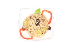 Seafood salad with spaghetti. Stock Photo