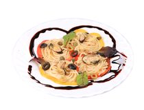 Seafood salad with spaghetti. Royalty Free Stock Image
