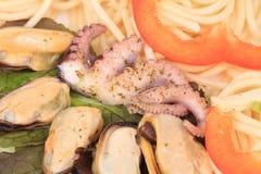 Seafood salad with spaghetti. Stock Photos