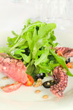 Seafood salad with a squid Stock Image