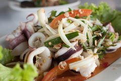 Seafood Salad with squid Stock Photography