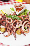Seafood salad with squid rings Royalty Free Stock Photo