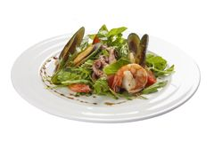 Seafood salad. A traditional Spanish dish. On a white background royalty free stock photo