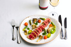 Seafood salad with tuna on white tablecloth background Royalty Free Stock Photography