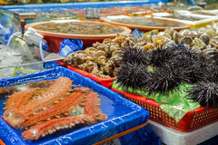 Seafood for sale at the Noryangjin Fish Market in Seoul Royalty Free Stock Photography