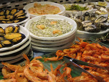 Seafood for sale in San Miguel Market, Madrid, Spain Stock Photography