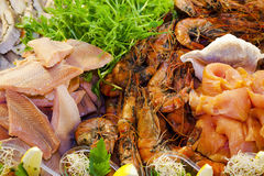Seafood - salmon and shrimps Stock Photography