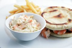 Seafood sandwich with coleslaw Royalty Free Stock Photos