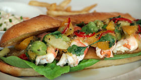 Seafood sandwich food Stock Photos