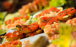Seafood sandwiches at the fish market in Bergen, Norway Royalty Free Stock Photo