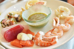 Seafood sashimi set Royalty Free Stock Photos