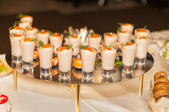 Seafood sauce with caviar in shot glasses Royalty Free Stock Photo