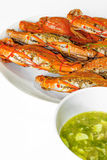 Seafood sauces of thailand. Fresh steamed crabs and seafood sauces of thailand Royalty Free Stock Photo