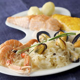 Seafood Sauerkraut Stock Photography