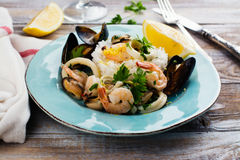 Seafood saute portion Royalty Free Stock Photography