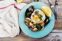 Seafood saute portion Stock Photo