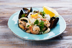 Seafood saute portion Royalty Free Stock Image