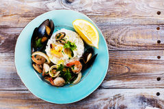 Seafood saute portion Stock Images