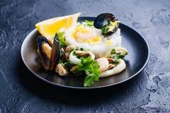 Seafood saute portion Stock Photography