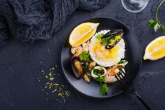 Seafood saute portion Royalty Free Stock Images