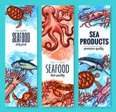Seafood, fish and sea product sketch banner set Royalty Free Stock Image