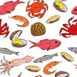 Seafood seamless Stock Photography