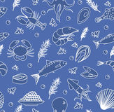 Seafood seamless pattern. Fish food endless background, texture. Hand drawing, sketch, line, doodle style. Vector Stock Image