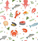 Seafood seamless pattern. Fish food endless background, texture. Underwater, sea life backdrop. Vector illustration. Stock Photos