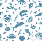 Seafood seamless pattern. Fish food endless background, texture. Underwater, sea life backdrop. Vector illustration. Royalty Free Stock Photos