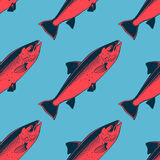 Seafood seamless pattern with pink salmon, vector illustration. For design royalty free illustration