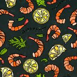 Seafood Seamless Pattern. Shrimp or Prawn, Herbs and Lemon on Chalkboard Background. Isolated Doodle Cartoon Vintage Stock Photo