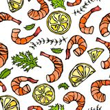 Seafood Seamless Pattern. Shrimp or Prawn, Herbs and Lemon. Isolated On a White Background Doodle Cartoon Vintage Hand Stock Image