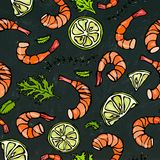 Seafood Seamless Pattern. Shrimp or Prawn, Herbs and Lime on Chalkboard Background.  Doodle Cartoon Vintage Hand Stock Photo